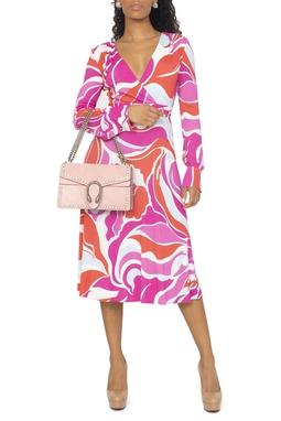 Vestido Midi Manga Longa Estampa Rosa