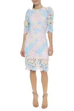 Vestido Midi Renda Tricolor Pastel  - DG16498