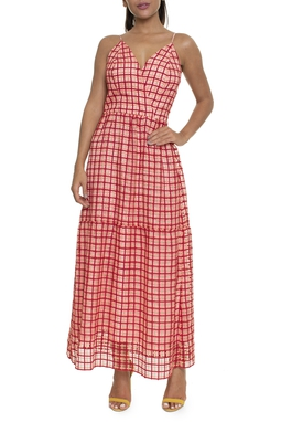 Vestido Midi Tecido Trabalhado Salmão - DG16435