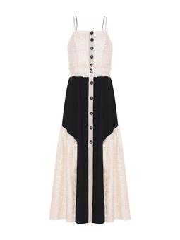 Vestido Midi Tweed Preto e Bege USTYLE