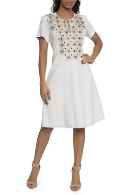 Vestido Nobu Bordado Off White - DG14767