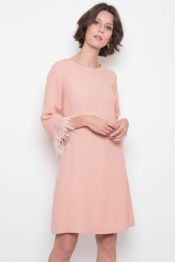Vestido Pluma Curto Rose