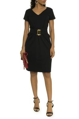 Vestido Preto Cinto Dourado - DG17436
