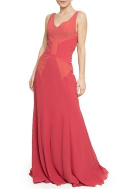 Vestido Recortes Crepe e Romain - DG17712