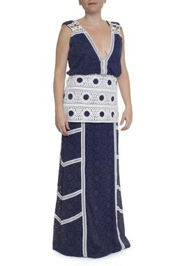 Vestido Renda Azul e Branco - DG13625