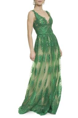 Vestido Renda e Tule Verde - DG18019