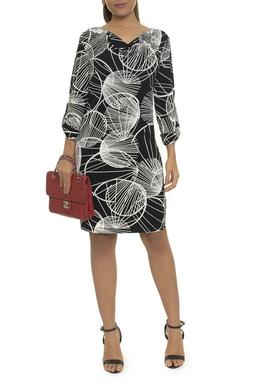 Vestido Reto Estampa P&B - DG14939