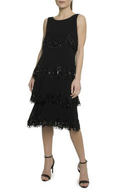Vestido Seda Camadas Bordadas - DG18407