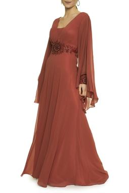 Vestido Tijolo Bordado Cintura - DG17587