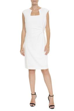 Vestido Tubinho Branco Com Drapeado - DG15648