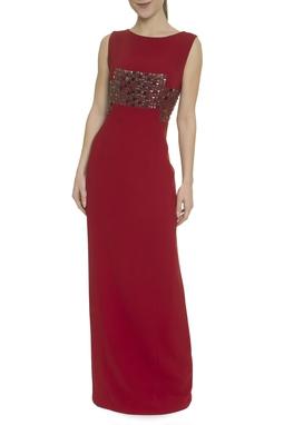 Vestido Vermelho Bordado - DG17751