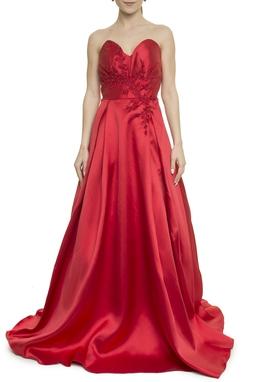 Vestido Vermelho Bordado - DG17934