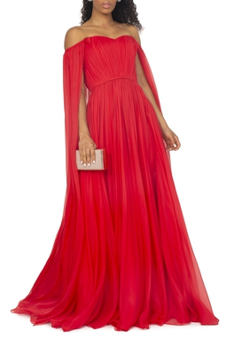 Vestido Vermelho Capa Seda