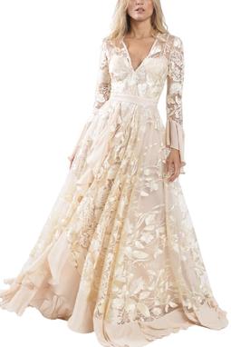 Vestido Vitória Longo Tule Bordado - DG13240