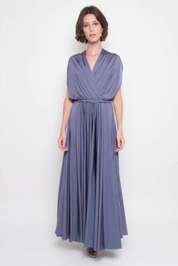 Vestido Longo Transpassado Azul