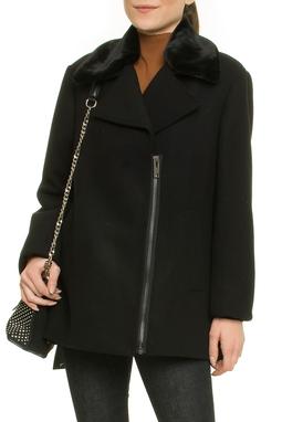 Wool Peacoat Collar Fur - 48O198