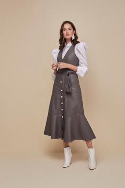 Vestido de Couro Ecológico Pespontado