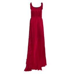 Vestido Fenda Babado Vermelho KS