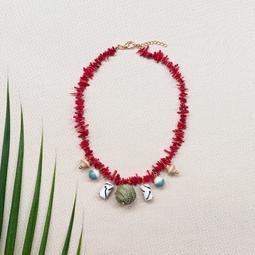 colar cascalho coral bola fibra e murano