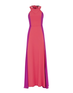 Vestido Longo Recortes Rosa KS