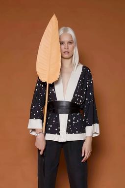 Kimono Constelação Curto Preto