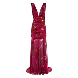 Vestido Longo Franzido Estampado Rosa KS