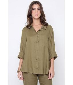 Camisa Cambraia De Linho Verde