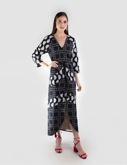 Vestido Estampado - Preto Areaoito