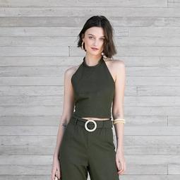 Cropped Frente Única Verde Militar