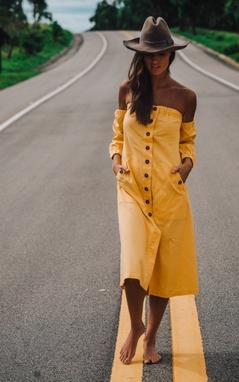 Vestido Midi Linho Amarelo