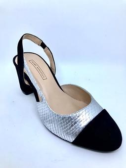Sapato Bicolor Salto Bloco