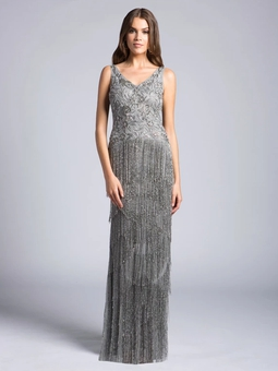 Vestido Monalise Franjas Gris