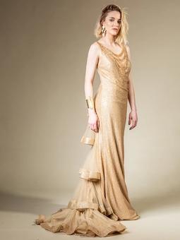 Vestido Elle Cauda Dourado THM