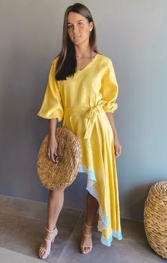 Vestido Fernanda Amarelo Barra Branca