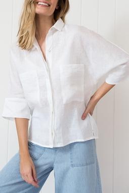 Camisa Bolsos Linho Off White
