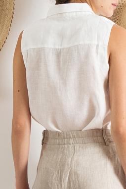 Camisa Sem Manga Linho Off White