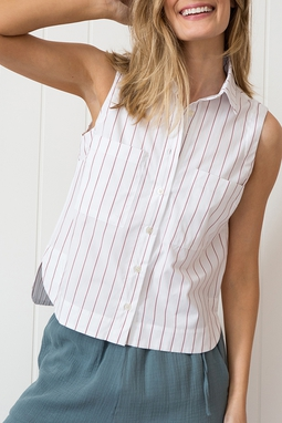 Camisa Sem Manga Listras Urucum