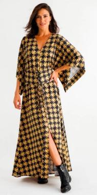 Vestido longo Karen Pied-de-Coq