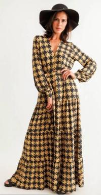 Vestido longo Betina Pied-de-Coq