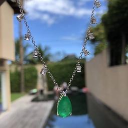Colar Cristal Esmeralda Zirconias Penduradas Rodio