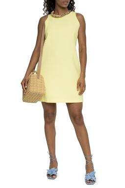 Vestido Curto Amarelo Gola Fechada - DG15534