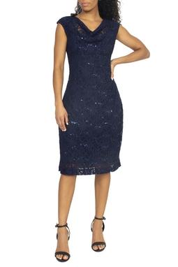 Vestido Midi Azul Marinho Bordado - DG15378