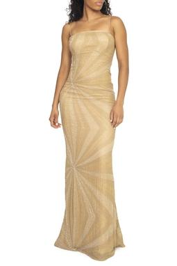 Vestido Dourado Bordado Raios