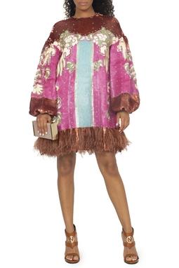 Vestido Bordado Estampado com Plumas