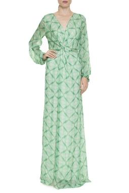 Vestido Longo Ml Seda Estampa Verde - DG16411