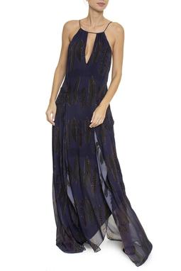 Vestido Estampa Penas Azul Marinho - DG16412