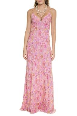 Vestido Rosa Estampado Em Seda - DG15635