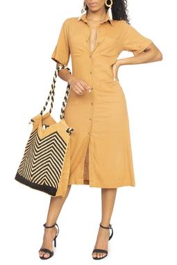 Vestido Camisa Manga Curta Caramelo - DG15102