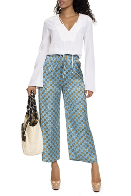 Calça Estilo Pijama Estampa Turquesa - DG15123