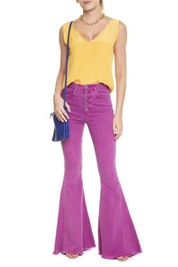 Calça Jeans Super Flare Pink Botões - DG15115